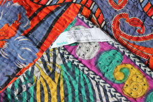 Green and Red Kantha Quilt Label - Anokha Collection