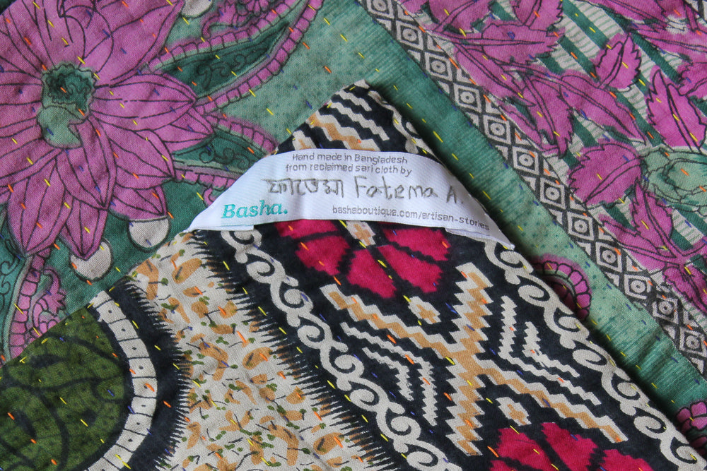 Green Kantha Quilt Label - Anokha Collection