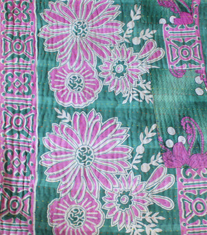 Green Kantha Quilt with pink flowers - Anokha Collection