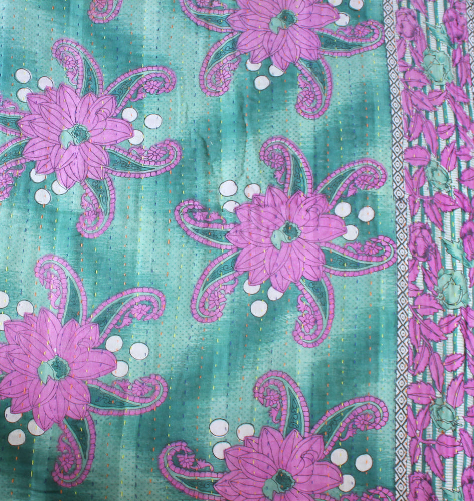 Green Kantha Quilt with pink flowers Detail- Anokha Collection