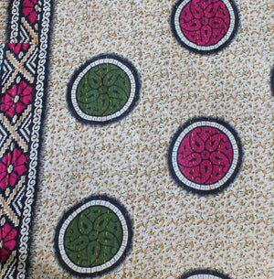 Green Kantha Quilt Pattern - Anokha Collection
