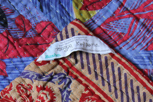 Red and Purple Kantha Quilt Label - Anokha Collection