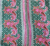 Dark Green Kantha Quilt Pink Flowers - Anokha Collection