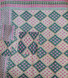 Dark Green Kantha Quilt Pattern Detail - Anokha Collection
