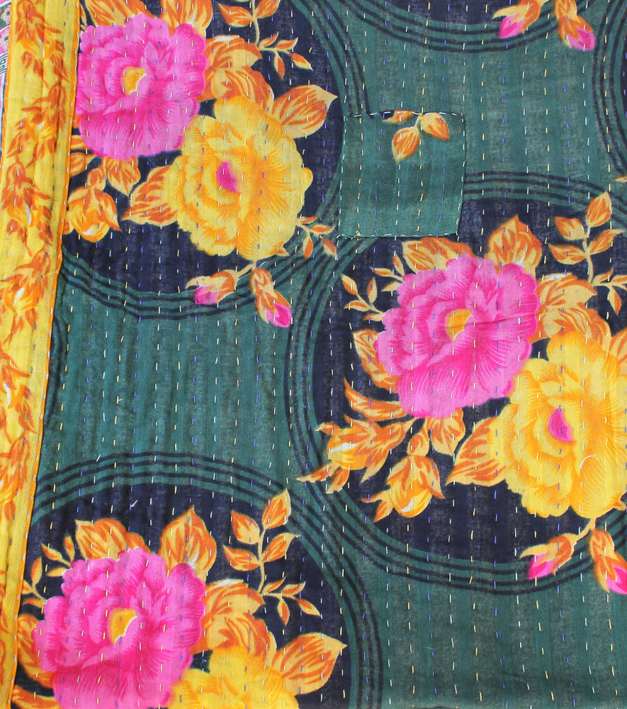 Dark Green Kantha Quilt Flower Pattern - Anokha Collection