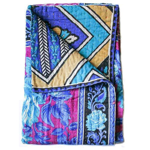 Blue and Purple Baby Quilt - Anokha Collection