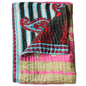 Pink and Black Baby Quilt - Anokha Collection
