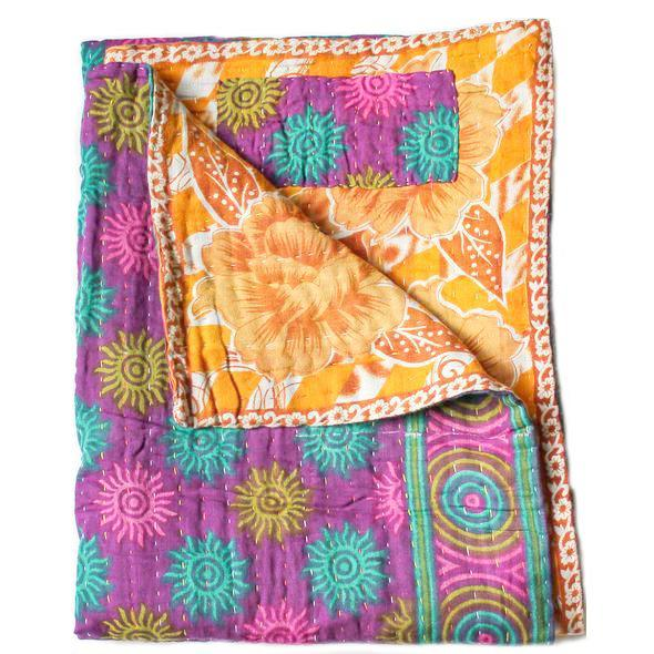 Purple and Yellow Baby Quilt Kantha Stitch - Anokha Collection