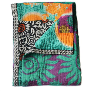Purple and Turquoise Baby Quilt - Anokha Collection
