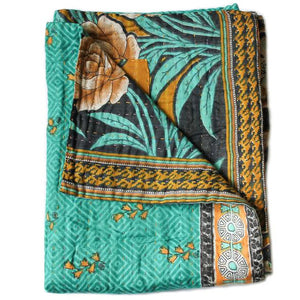 Turquoise and Black Baby Quilt - Anokha Collection