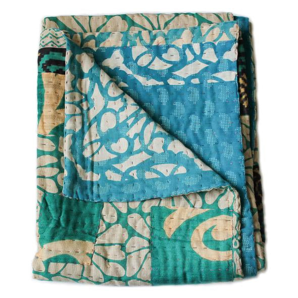 Turquoise and Light Blue Baby Quilt - Anokha Collection