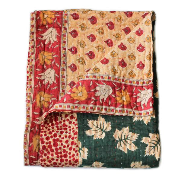 Green and Yellow Baby Quilt Kantha Stitch - Anokha Collection