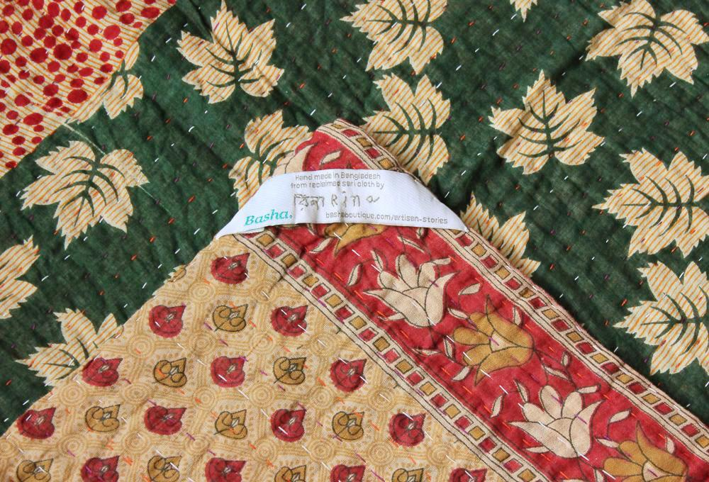 Green and Yellow Baby Quilt Label - Anokha Collection