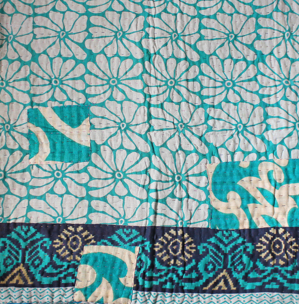 Turquoise and Light Blue Baby Quilt Pattern - Anokha Collection