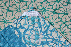 Turquoise and Light Blue Baby Quilt Label - Anokha Collection
