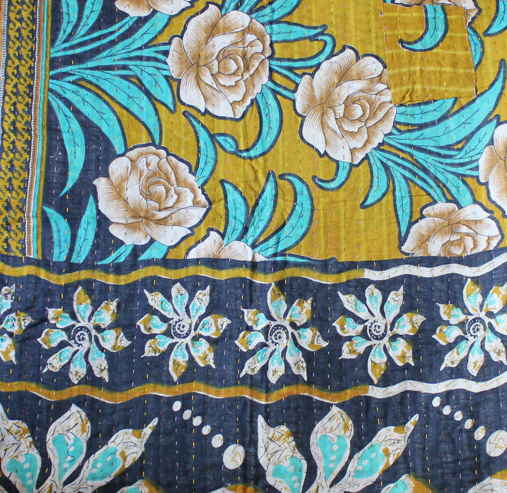 Turquoise and Black Baby Quilt Kantha Stitch - Anokha Collection
