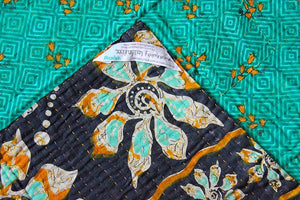 Turquoise and Black Baby Quilt Label - Anokha Collection