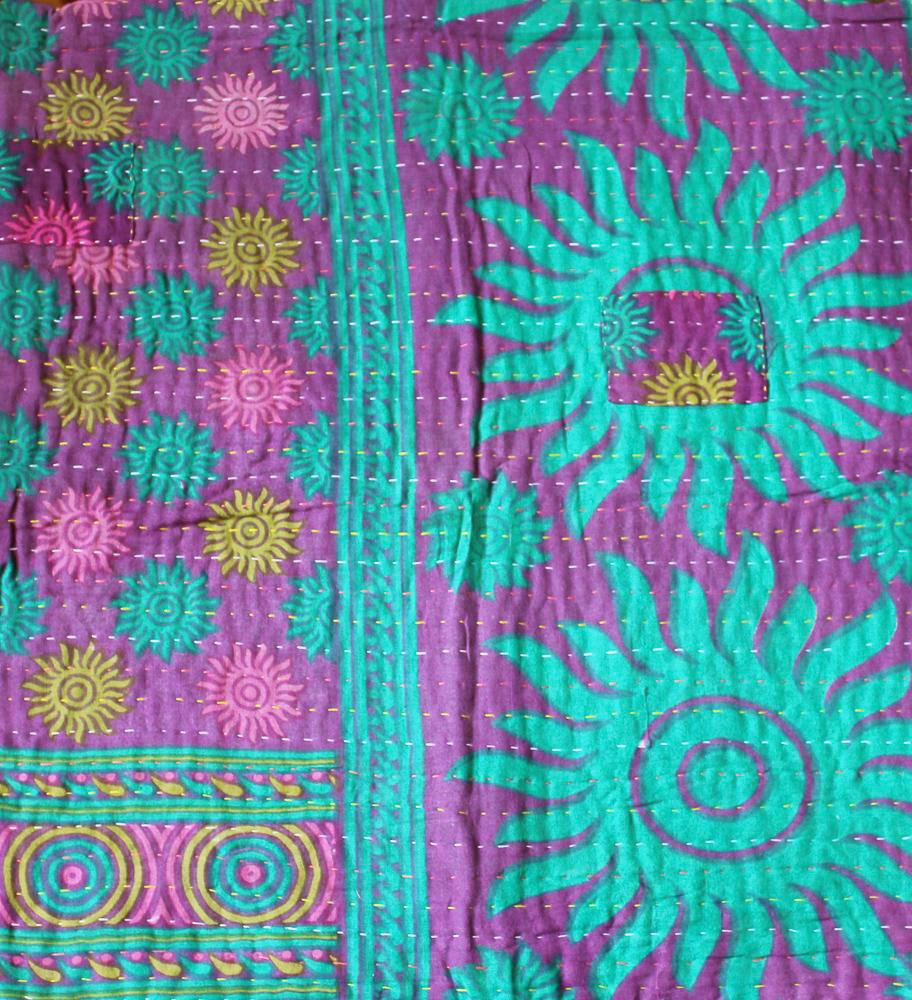 Purple and Turquoise Baby Quilt Pattern Detail - Anokha Collection