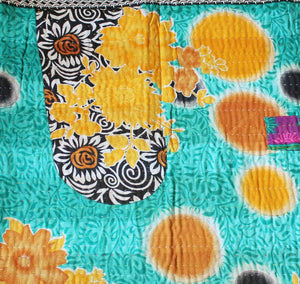Purple and Turquoise Baby Quilt Kantha Stitch- Anokha Collection
