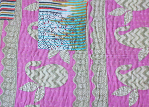 Pink and Black Baby Quilt Kantha Stitch - Anokha Collection