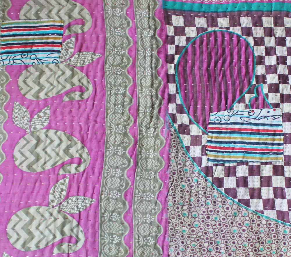 Pink and Black Baby Quilt Pink Side - Anokha Collection