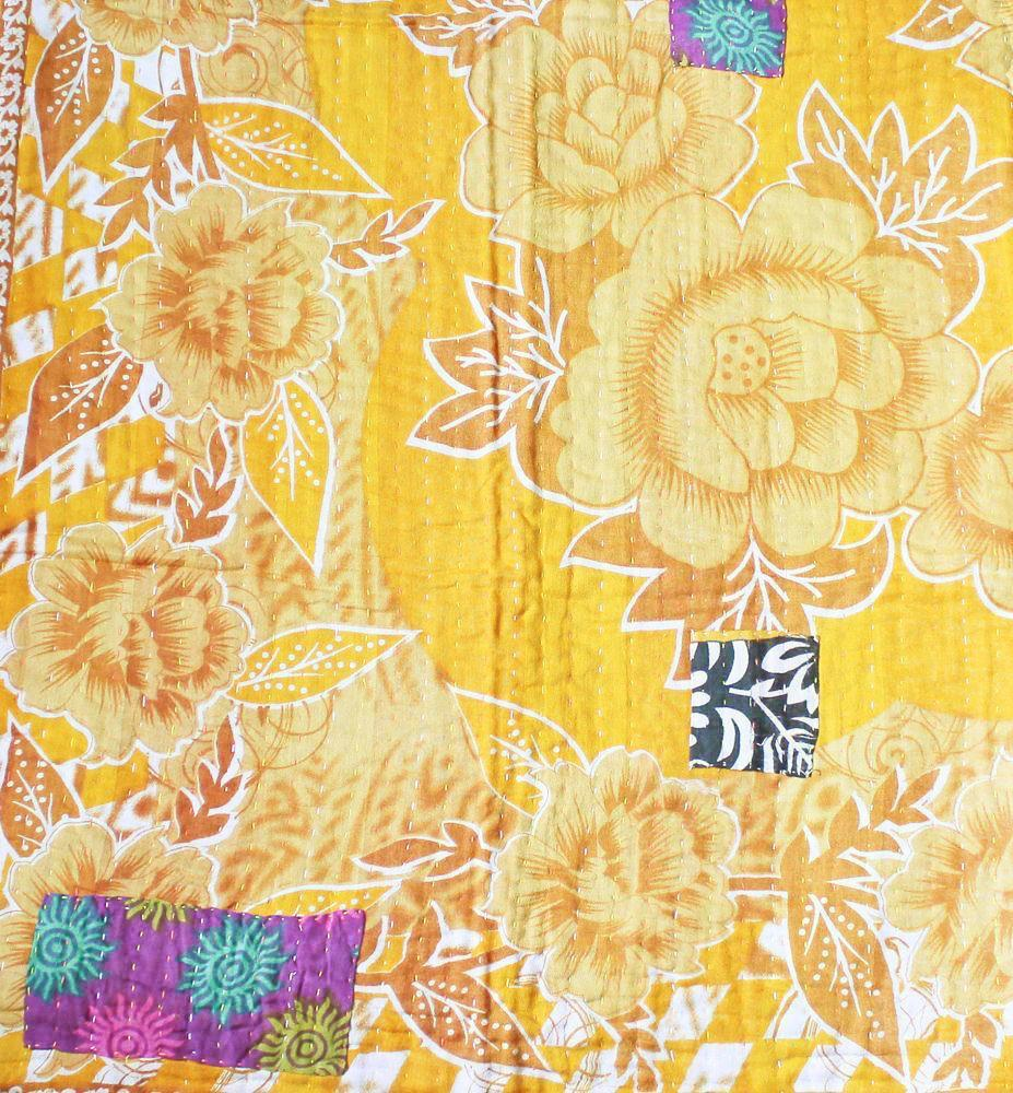 Purple and Yellow Baby Quilt Yellow side- Anokha Collection