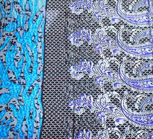 Light Blue and Black Baby Quilt Black and Purple Side - Anokha Collection