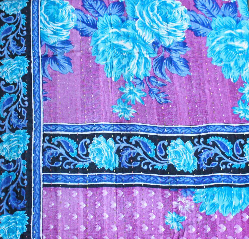 Blue and Purple Baby Quilt Purple Side - Anokha Collection