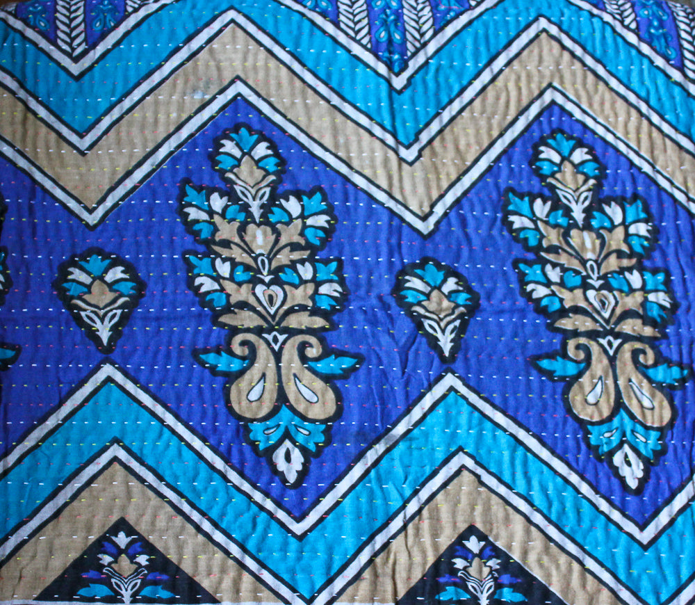 Blue and Purple Baby Quilt Blue Side 1 - Anokha Collection