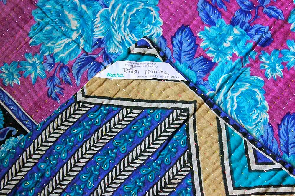 Blue and Purple Baby Quilt Label - Anokha Collection