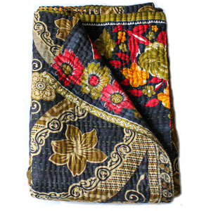 black kantha quilt large