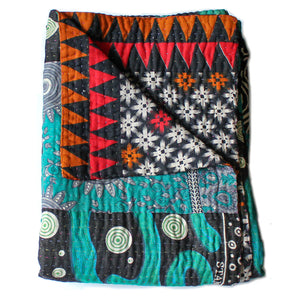 blue and red kantha quilt folded - Anokha Collection