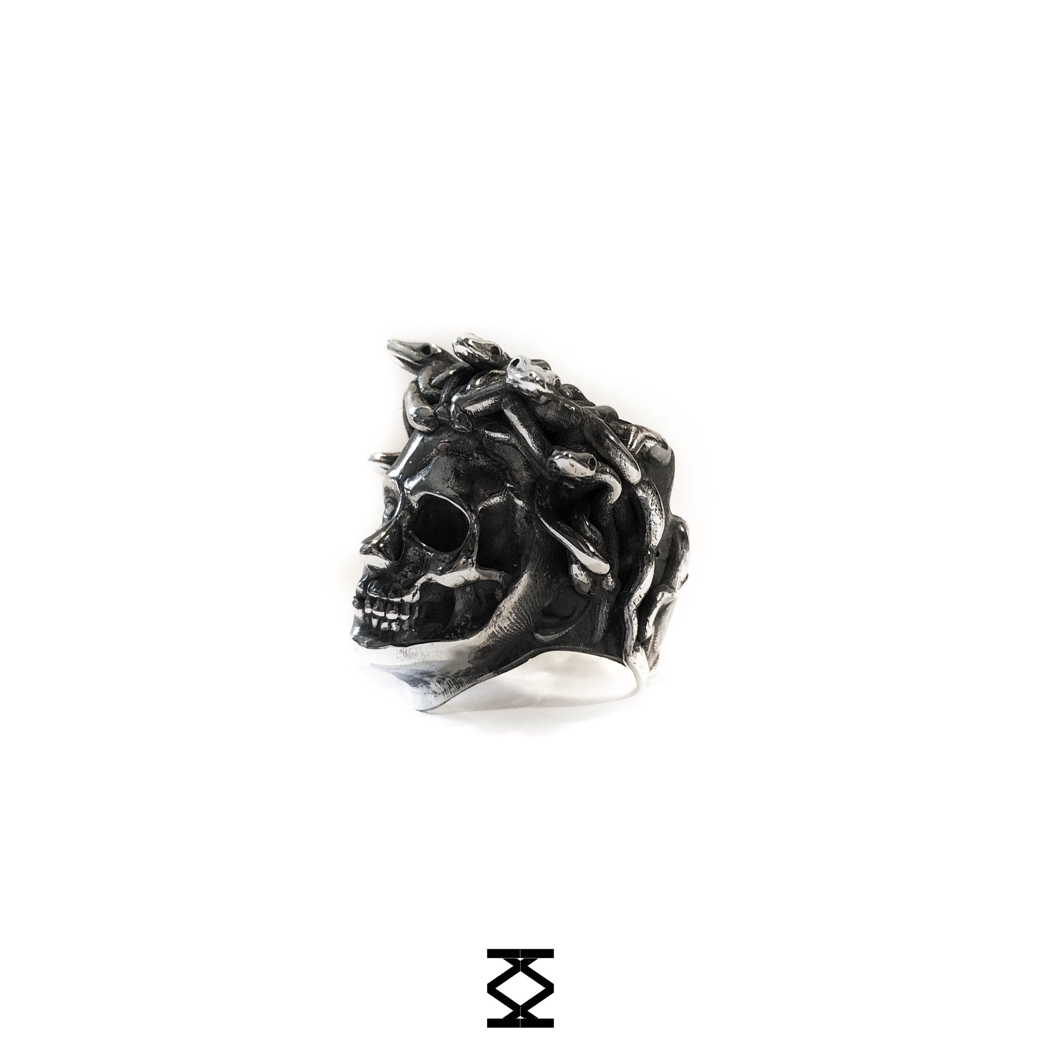Medusa - custom silver 925 ring half skull and half face