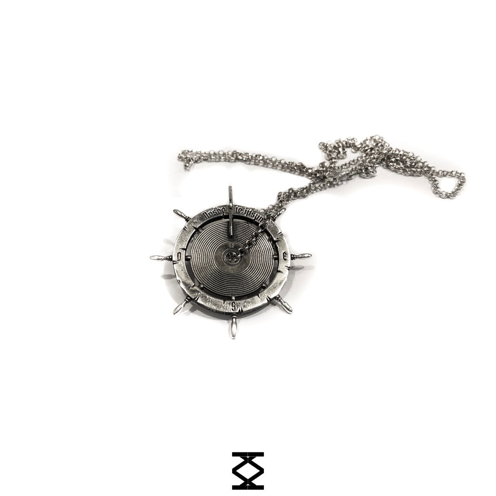 Origins - Silver helm and vinyl necklace 925