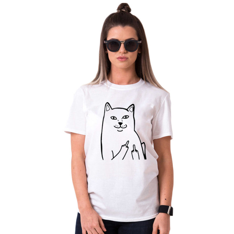 Funny Middle Finger Cat T-Shirt