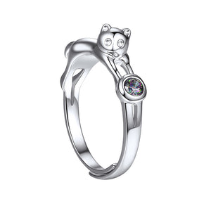 Silver Diamond Cat Ring