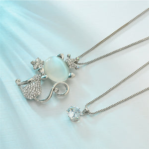 Long Silver Cat Necklace