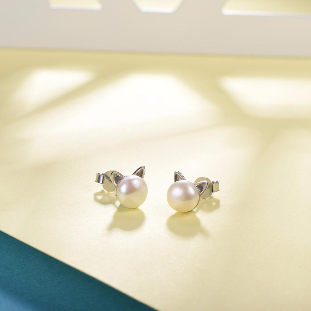 925 Sterling Silver Cat Earrings Earring