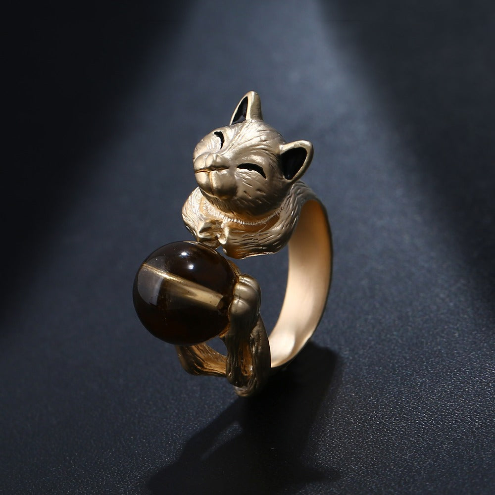Cat Ring With Brown Round Ball