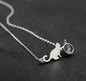 Moonstone Cat Necklace