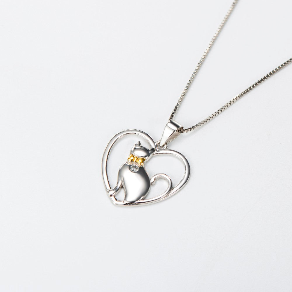 Crystal White Cat Necklace