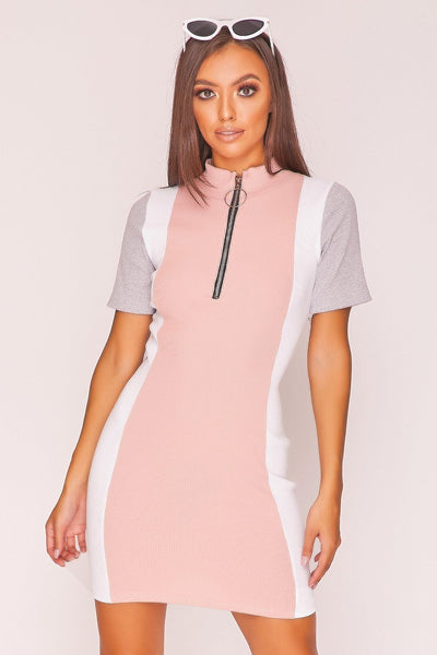 Baby Pink Panel Zip Mock Neck Mini Dress