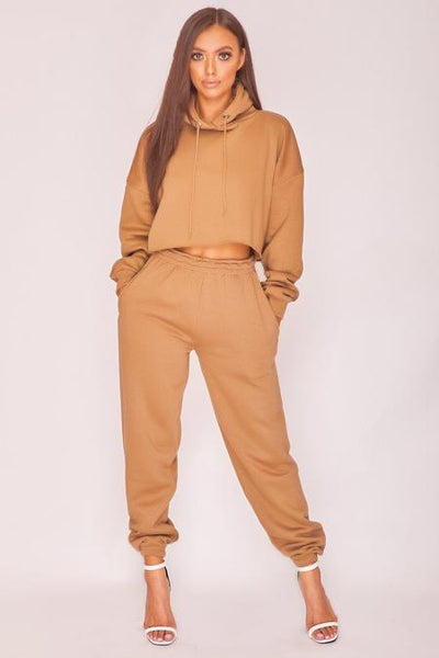 Tan Oversized Raw Edge  Cropped Hoodie | Tan Cuffed Joggers