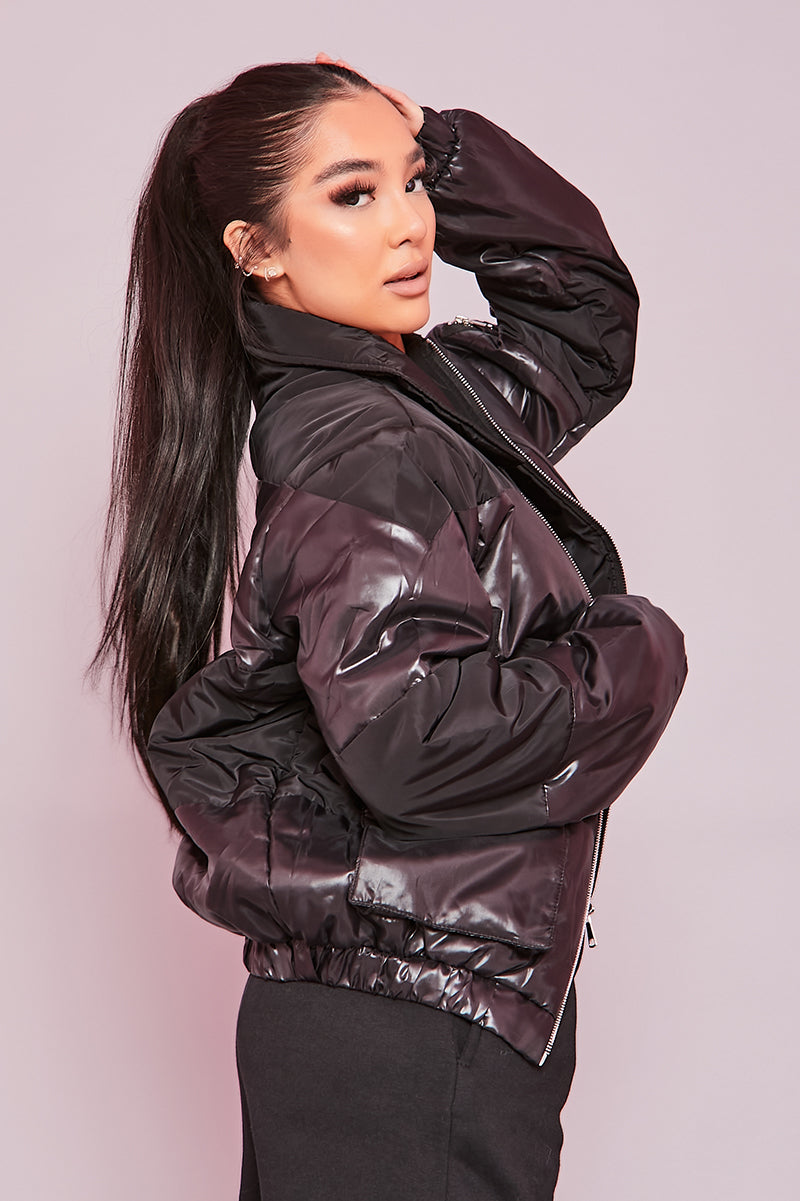 Black Oversized Vinyl Panel Bomber Jacket- Dahlia