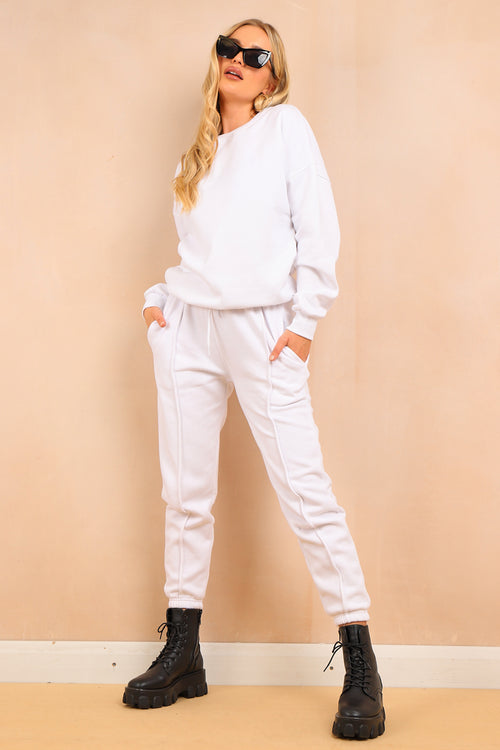 White Crew Neck Jumper & Piping Detail Jogger Set- Amber