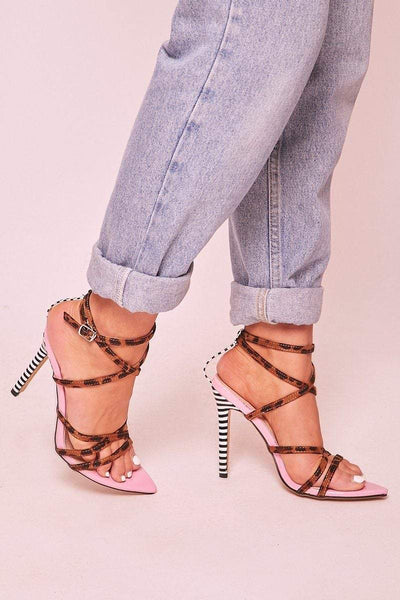 Amber Pink Leopard Lace Up Heels