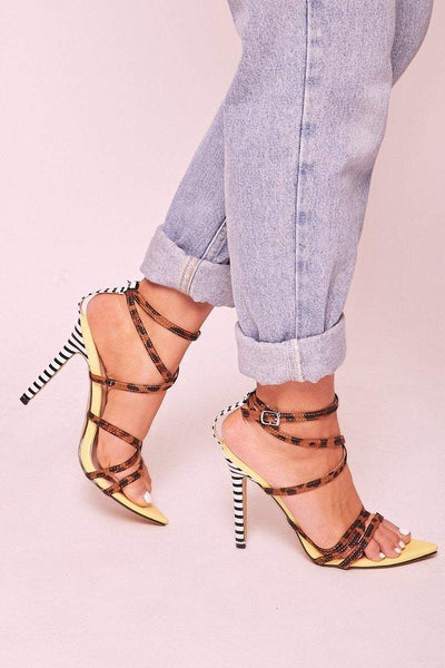 Amber Yellow Leopard Lace Up Heels