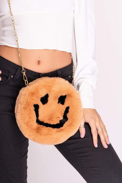 Andy Brown Faux Fur Smiley Face Bag
