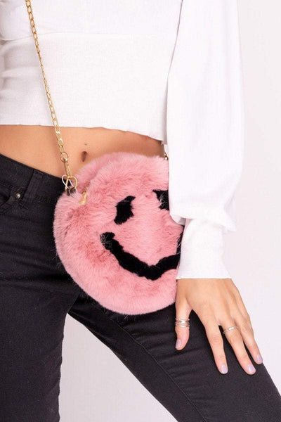Andy Pink Faux Fur Smiley Face Bag