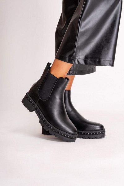 Annie Black Studded Chelsea Boots